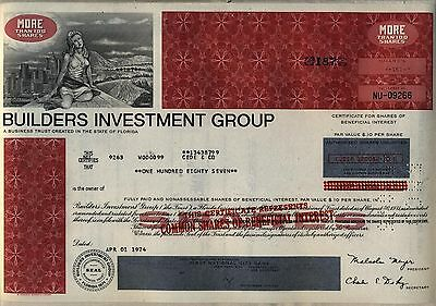 Builders Investment Group Stock Certificate Real Estate
