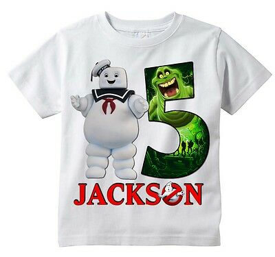 Stay Puft Marshmallow Man Ghostbusters Custom T-shirt PERSONALIZE, Add Name/Age