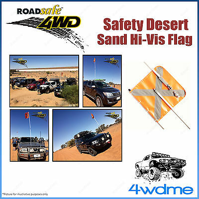 Roadsafe 4WD Sand Dune Beach Safety Flag 3 Piece Hi Visibility Heavy Duty