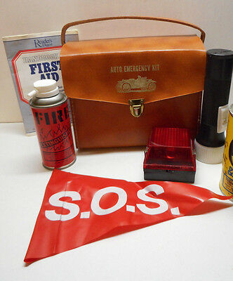 Vintage Leather Auto Emergency Kit By Dynamic Classics Light Light Fire Exting.
