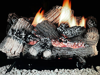"36"" Gas Logs Natural Gas Thermostatically controlled Fireplace Vent Free 36K BTU"