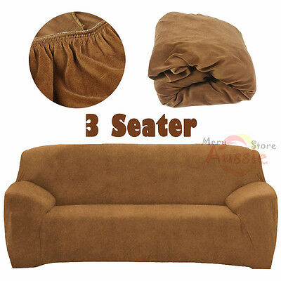 Super Fit Stretch Sofa Couch Cover 3 Seater Lounge Slipcover Protector Camel AU