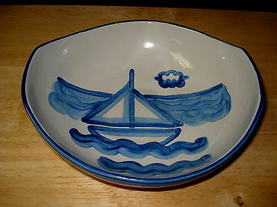M A Hadley Sailboat Venetian Salad Snack Flaired Bowl