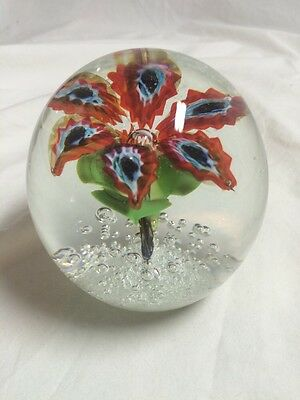 Vintage Murano Italian Glass Paperweight Red & Blue Floral Design with Bubbles