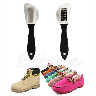 3-side Cleaning Brush Kit For Suede Leather Nubuck Shoes Boot Stain Dust Cleaner