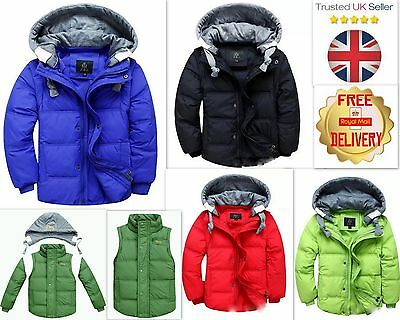 Kids Boys Duck Down Jacket/Gilet Thick Winter Coat Two Way Style Age 5-10 Years
