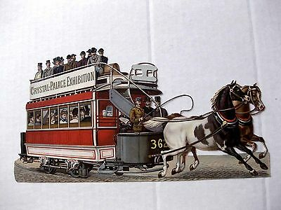 1800s Victorian Era Die Cut Scrap of Horse Drawn Trolley Crystal Palace Expo