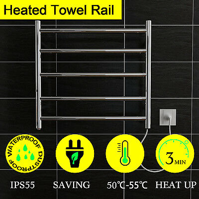 NEW Electric Heated Towel Rail Warmer Rack Stainless Steel Bathroom Round 5 Bars