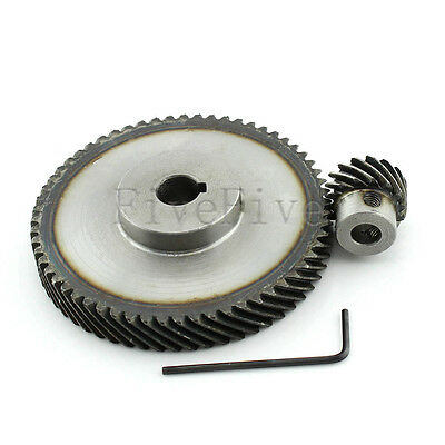1M 60T/15T Metal Helical Wheel Gear 90° Pairing Bevel Gearing Set Kit Ratio 4:1