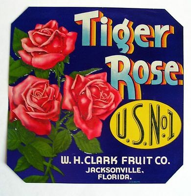 1930s Rare Tiger Rose Flower Crate Label Beautiful!