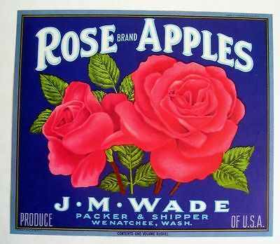 1940s Red Rose Flower Image Fruit Crate Label Gorgeous!
