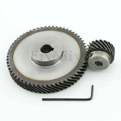 1M 60T/20T Metal Helical Wheel Gear 90° Pairing Bevel Gearing Set Kit Ratio 2:1