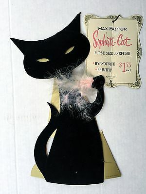 1950s Max Factor Black Cat w/ Pink Feather Sophisti-Cat Perfume Display