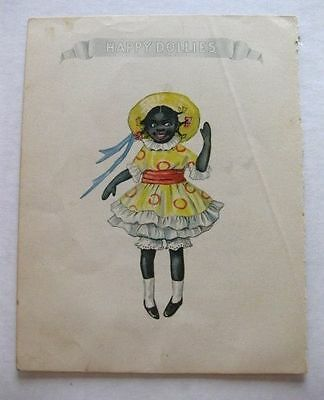 Amazing 1914 Book Plate of Little Black Kid Pickaninny Girl in Yellow Dress