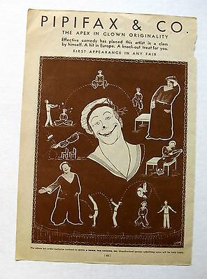 Authentic Vintage 1933 Circus Act Ad Clown Comedy Show & Whirlwind Skating Act
