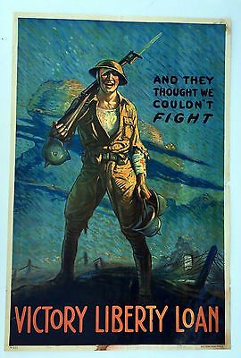Authentic WWI Poster And They Thought We Couldnt Fight Victory Liberty Loan