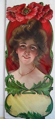 Large Victorian Die-Cut of Beautiful Woman w/ Red Flowers Above Head w/ Pearls *
