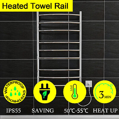 NEW Electric Heated Towel Rail Warmer Rack Stainless Steel Bathroom Curved 9 Bar