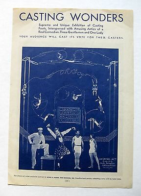 Vintage Authentic 1933 Circus Act Ad Acrobats and Dancing Girl Sensation