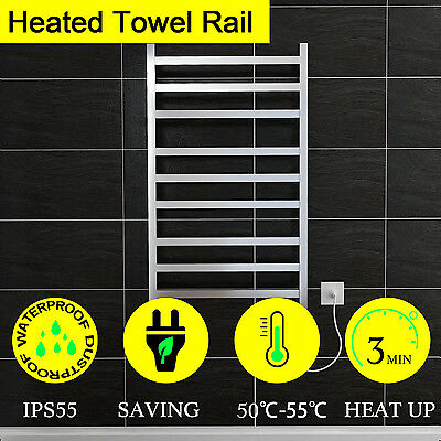 NEW Electric Heated Towel Rail Warmer Rack Stainless Steel Bathroom Square 9 Bar