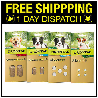 Drontal Allwormer For Dogs (Roundworm, Hookworm, Whipworm, Tapeworm) - All Sizes