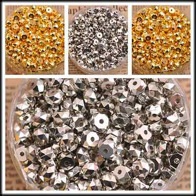 100pcs faceted charm spacer loose beads DIY Jewelry 7MM