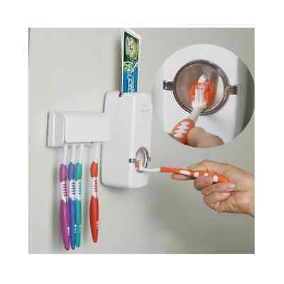 Auto Toothpaste Dispenser Holder Toothbrush Wall Mount Automatic Rack Stand