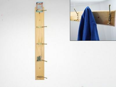 4 x Wall Hangers with 5 hooks Wood 49.5cm Coats Towels Tidy Wholesale Lot