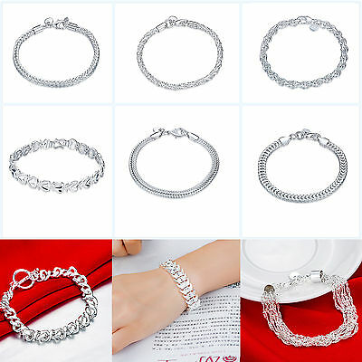 Womens Men Fashion Jewelry 925 Solid Silver Plated Bangle Bracelet Charm New