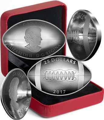 2017 Football-Shaped Curved Convex Canada Coin $25 1OZ Pure Silver Proof
