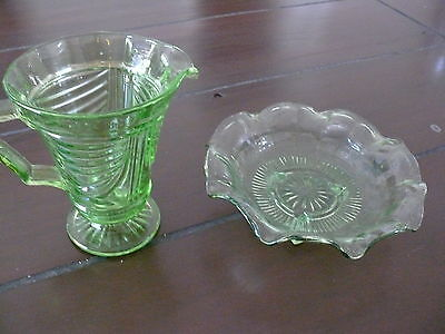 Vintage Green glass footed bowl and water jug