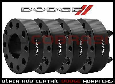 "4 Dodge 5x.5.5 Black Hub Centric Wheel Spacers 2"" Thick Fits Dakota Ram Durango"