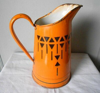 Antique french ENAMELWARE Body Pitcher