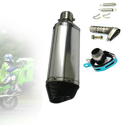 NEW 38-51mm Motorcycle Stainless Steel Exhaust Muffler Pipe System &DB Killer UK