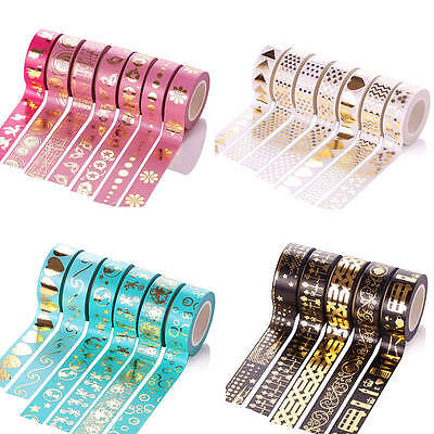 Multi-colour Metallic Gold Craft Washi Paper Tape DIY Scrapbook Adhesive Sticker