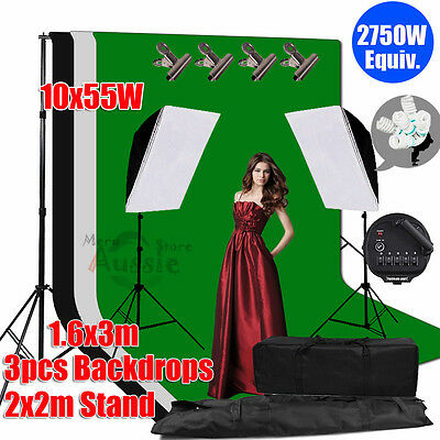 2750W Photography Studio Softbox Continuous Lighting Light Stand 3 Backdrops Kit