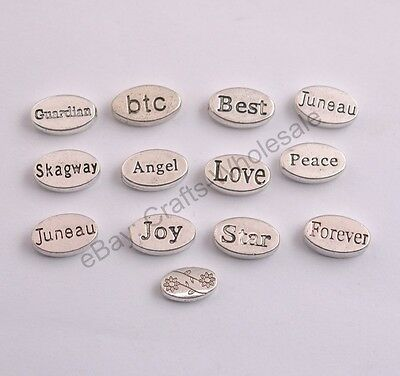 10/50/100PCS Silver Plated Loose Oval Spacer Beads Charms Jewelry 13X3MM  DIY