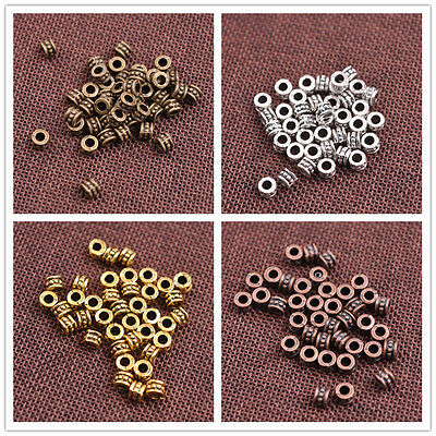50/100PCS Tibetan silver big hole flowers Charms spacer beads Jewelry 6MM CA3086