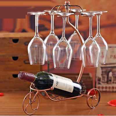 Red Wine Bottle Holder Carriage Shape w/ 6 Glass Ring Hanging Goblet Rack