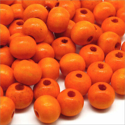 Lot de 100 Perles Rondes en Bois 8mm Orange
