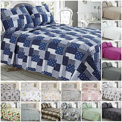 Luxury quilted bedspread/throws with pillowcases double king size printed new