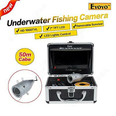 "50M/165ft 7"" LCD Fish Finder Silver Underwater Fishing Video HD Camera+Sunvisor"