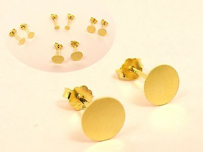 Gold Filled base 925 Sterling Silver FLAT Circle Stud EARRINGS or DIY 1.5mm -8mm