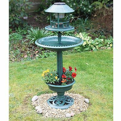Ornamental Bird Hotel Feeder & Bath With Solar Light Garden Birds Table Station