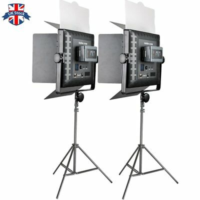 UK 2pcs GODOX LED1000 Changeable Version LED Video Light +2*2M Light Stand Kit