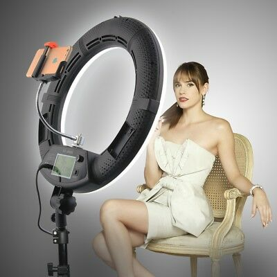Yidoblo FE480II Bicolor Dimmable LED Ring Light Makeup Lighting w/Remote Control