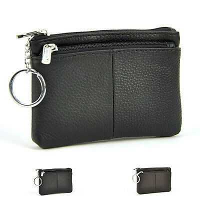 Genuine Leather Coin Bag Men Women Key Ring Mini Wallet Practical Change Purse