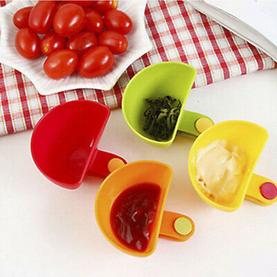 4PCS Assorted Salad Sauce Ketchup Jam Dip Clip Cup Bowl Saucer Kitchen Tableware