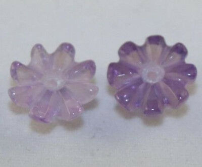 Natural 2 X Carved Amethyst Loose Gemstone Flower Beads 9Mm Light Purple Am39B