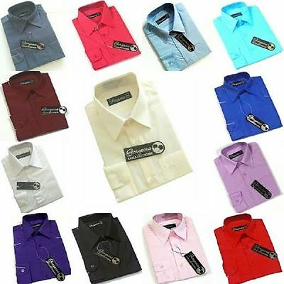 Boys Plain Shirt Formal Party Occasion Long Sleeve (MULTIPLE COLOURS AVAILABLE)